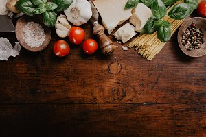 Different products for pasta on wood