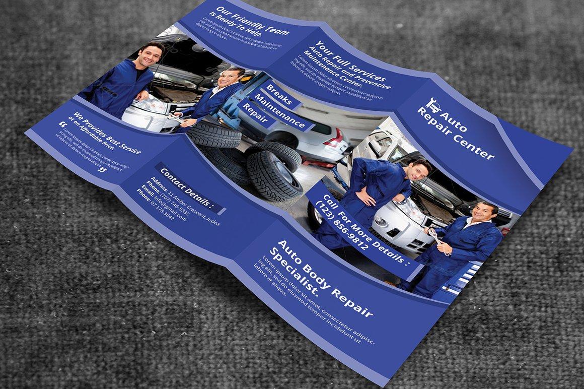 Auto repair service trifold brochure brochure templates for Car brochure templates