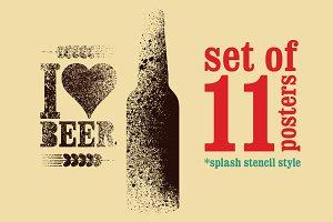 Beer splash stencil grunge poster.