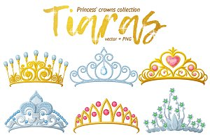 Tiara crowns vector collection