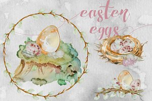 Watercolor Easter Eggs Clipart