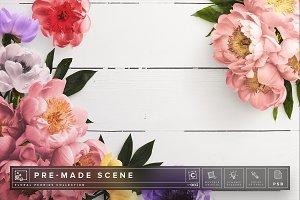 Floral Peonies Mockup Scene #005