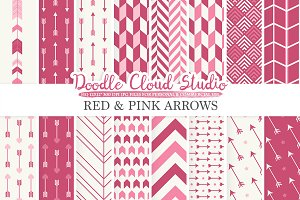 Red and Pink Arrows digital paper