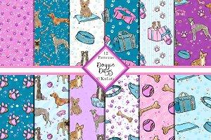 Dog Seamless Patterns with glitter
