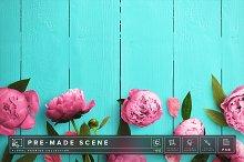 Floral Peonies Mockup Scene #015