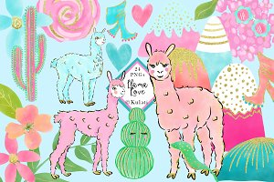 Cute Llama Clipart / Graphics