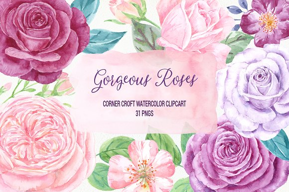 Watercolor Gorgeous Roses