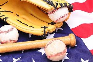 Baseballs Glove and Flag