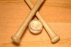 Baseball and Two Crossed Bats