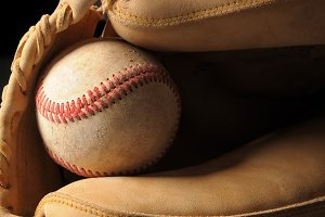 Baseball and Glove Close up