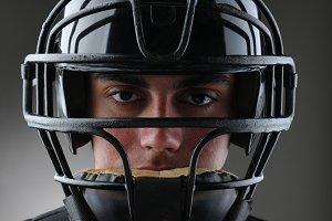 Baseball Catcher Closeup