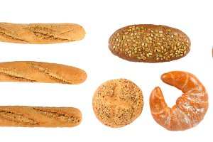 Panoramic set of fresh bread product