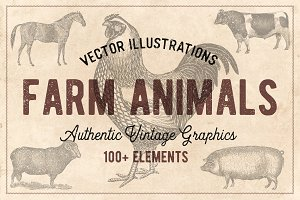 100 Vintage Farm Animals (Vector)