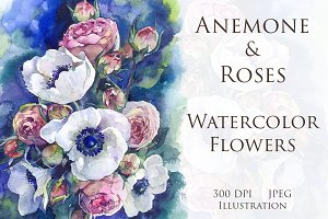 Watercolor Anemone & Roses flowers