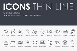 Warehouse logistics thinline icons