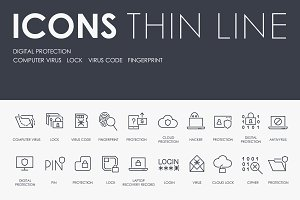 Digital protection thinline icons