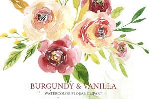 Watercolor burgundy & creamy flowers