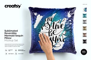 Mermaid Sequin Pillow Mockup Set