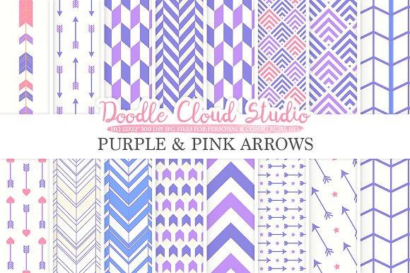 Purple And Pink Arrows Digital Paper