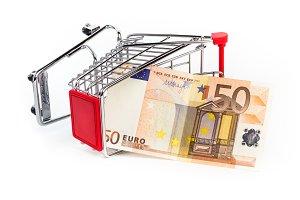 Shopping cart with 50 euro bill