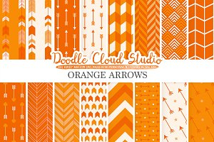 Orange Arrows digital paper