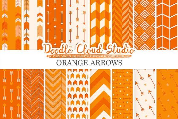 Orange Arrows Digital Paper