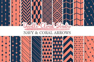 Navy and Coral Arrows digital paper