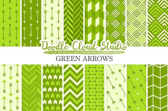Green Arrows Digital Paper