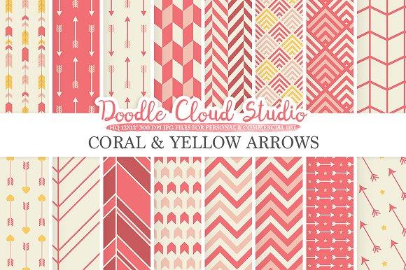 Coral Yellow Arrows Digital Paper