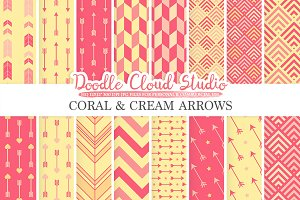 Coral and Cream Arrows digital paper