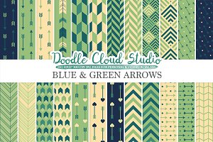 Blue and Green Arrows digital paper