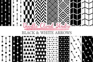 Black and White Arrows digital paper