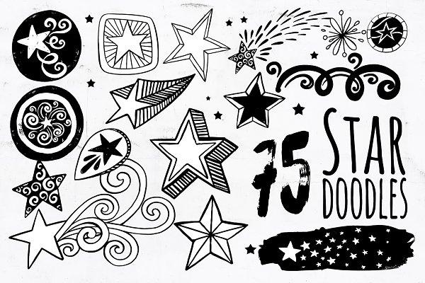Star PNG Vector, Star Doodle ClipAr…
