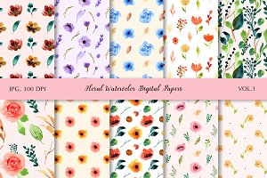 Floral Watercolor Digital Papers V.1