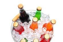 Bucket of Assorted Soda Bottles