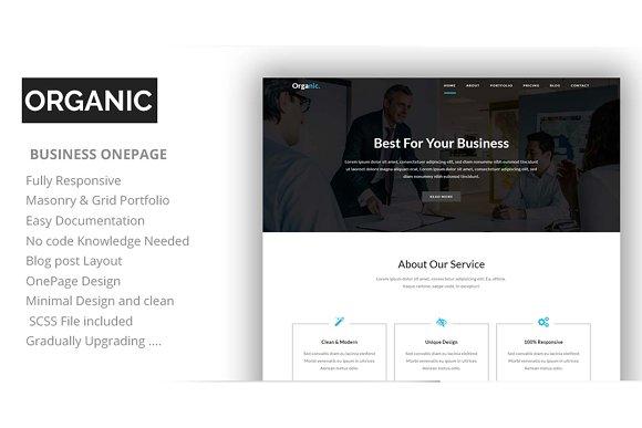 Organic One Page Parallax HTML Tem