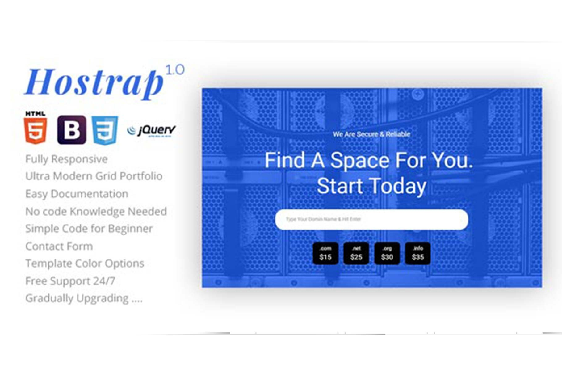 Hostrap - Hosting Onepage Template