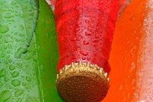 Closeup Three Soda Bottles