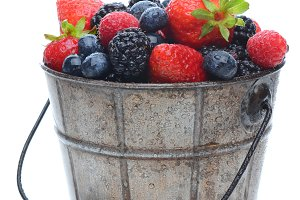 Fresh Berries in Pail