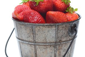 Pail of Fresh Picked Strawberries