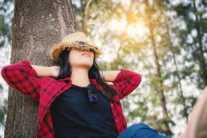 Happy moment hipster woman relaxing