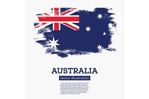 Australia Flag with Brush Strokes.