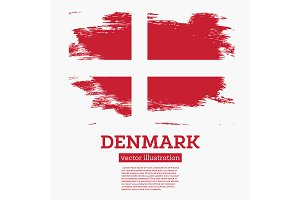 Denmark Flag with Brush Strokes.