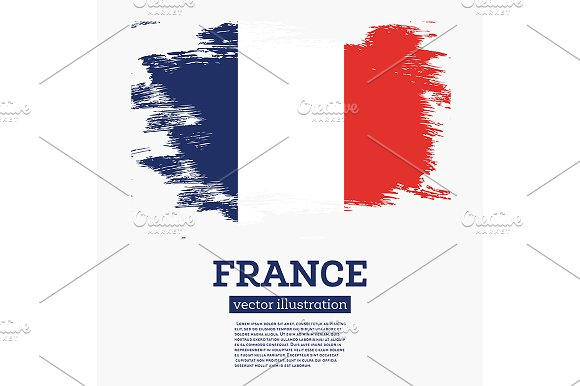 France Flag With Brush Strokes