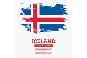 Iceland Flag with Brush Strokes.