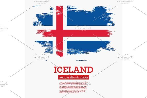 Iceland Flag With Brush Strokes