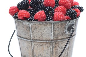 Blackberries and Raspberries in Pail