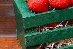 Strawberries in Wood Crate