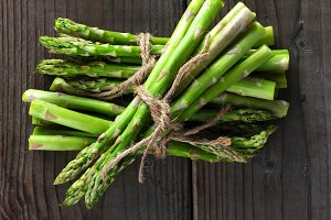 Asparagus Bunches on Wood
