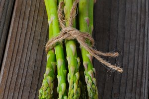 Asparagus on Wood Surface